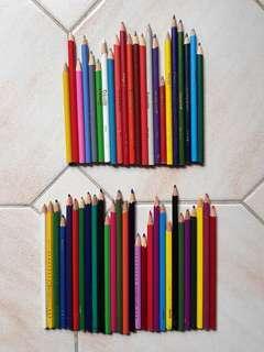 Bulk lot of 50 coloured pencils - used