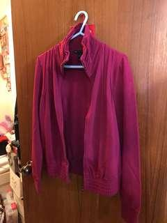 紫紅色拉鍊外套 Burgandy zipped jacket