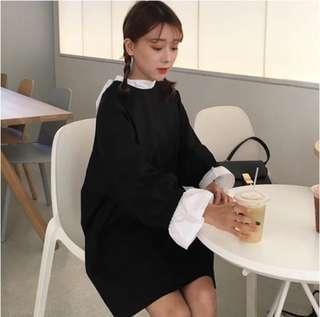 韓國黑色娃娃裝 寬鬆 Korean Black Babydoll Dress #胖妹妹友好