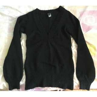 MANGO Black Wool Knitted Sweater