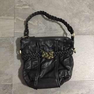 Shanghai Tang Black Leather Bag