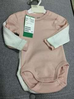H&M 2pack baby girl bodysuits eur62 2-4M