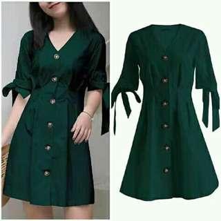 😊BD Mini dress green w ribbon sleeves