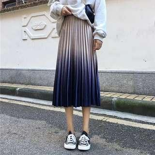 Champagne Ombre Pleated Skirt