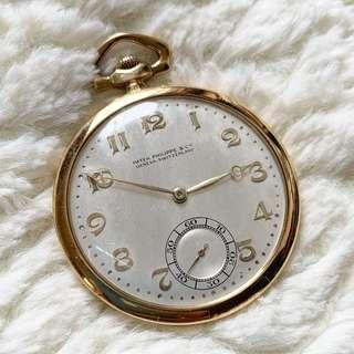 <Rare>Vintage Patek Philippe pocket watch 18K gold case 燒青字 , all oringial from 1930s !!