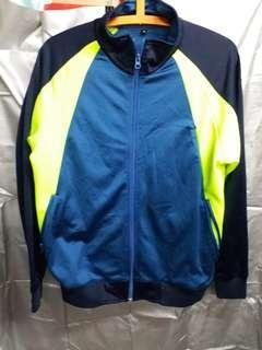深藍螢光拼色運動外套