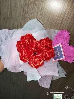 Handmade heart shape 9 silk ribbon rose bouquet