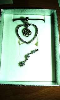 愛心鑽石項鍊另贈鑽石串鍊