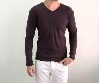 Uniqlo Cotton Long Sleeves Top, Brown, Size S
