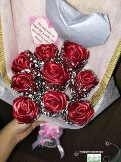 Handmade 9 stalk silk ribbon rose bouquet