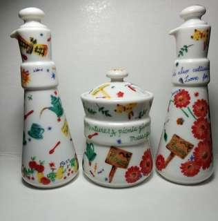 Aito Japan Bone Porcelain Oil & Vinegar Long Neck Bottles And Salt Jar