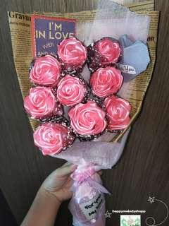Handmade 9 stalk silk ribbon pink rose bouquet