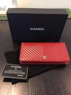 Authentic Chanel Chevron Long Wallet