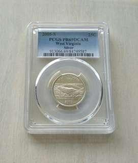 USA 2005-S West Virginia PCGS PR69DCAM 25Cents Silver Proof Coin