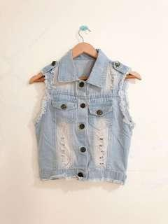 Acid Ripped Denim Vest