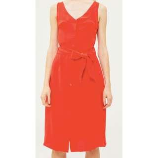 Alanis button up midi dress in red