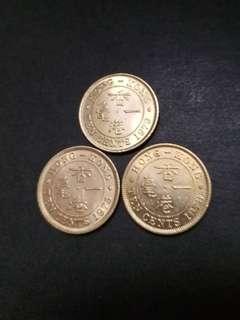 香港女皇頭大一亳硬幣三枚