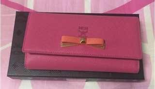 Authentic MCM mina pink Long Trifold Wallet Purse