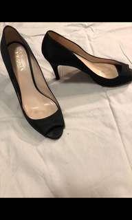 Prada black satin Peeptoe Heels Size 38.5