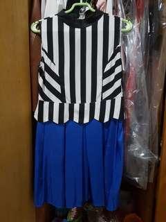 short simple strip blue mini dress