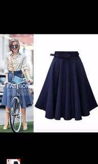 Demin Flare skirt with belt BNWT