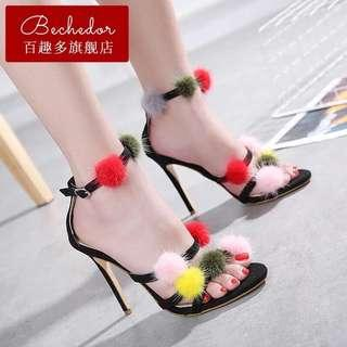 Black Strappy Pompom Sandals size 38 39 40