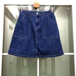 全新日本Lowrys Farm女裝時尚深藍色牛仔短裙Brand New Japanese Lowrys Farm Women's Fashion Dark Blue Denim Skirt