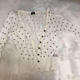 Cute H&M Heart Dotted Cardigan