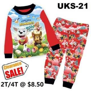 Clearance-- -Paw Patrol Long Sleeve Pyjamas  for  2T/4T