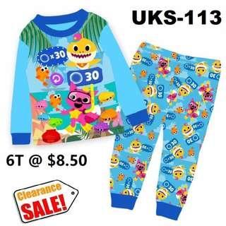 Clearance-- -Baby Shark Long Sleeve Pyjamas  for  6T