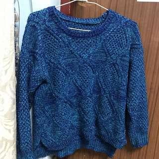 跳色藍密編織毛衣