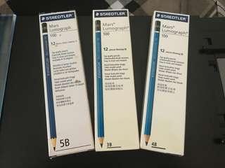 Staedtler Mars Lumograph Graphite pencils + free 1 used Faber Castell Graphite Eraser