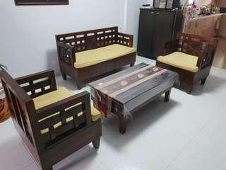 Antique Wooden Chairs & Coffee Table