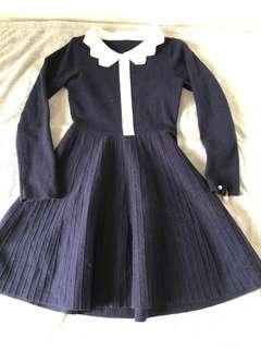 韓國 寶藍針織連身裙