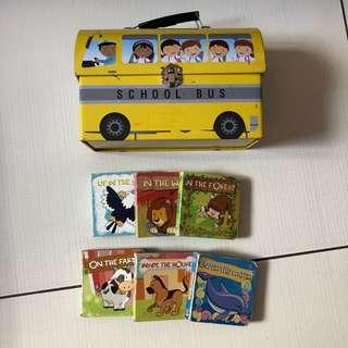 6 animal books with lunch box