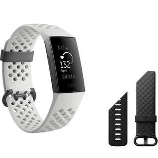 Fitbit Charge 3 Special Edition, Frost White Sport/Graphite Aluminum Fitness Wristband - BNIB