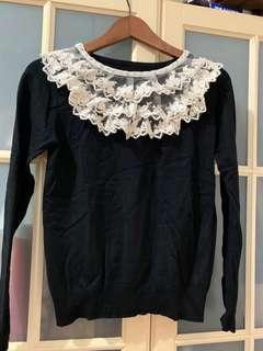 🚚 黑色蕾絲針織衫
