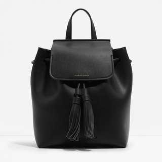 BN Charles & Keith Tassel Backpack (Black)