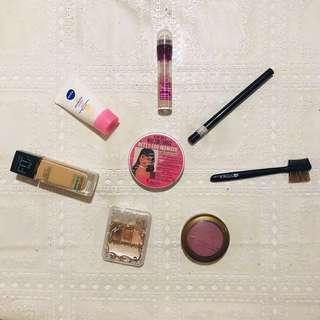 Assorted Make Up, blush, bronzer, eye shadow, eye liner, sun protector,