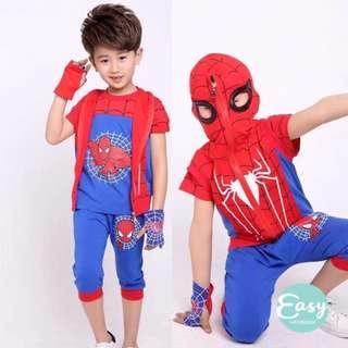 Kids Boys Spider-Man Costume 4pcs Clothing Set T-Shirt+Vest+Pants+Glove