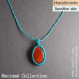 Oval Jasper stone teal necklace // macrame macramé crochet handmade necklace sensitive skin
