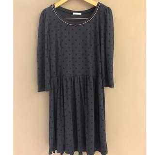 🚚 ❤️【二手】日本 專櫃品牌 uniqlo 副牌 GU 深藍色 x 黑色點點 水玉 柔軟 棉質 洋裝 M號