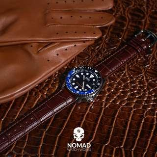 🚚 Genuine Croc Pattern Leather Watch Strap in Brown (Available in 16, 18, 19, 20, 21, 22 and 24mm)