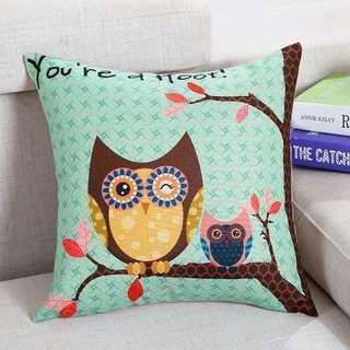 Green owl Cushion cover pillow case chair sofa kerusi