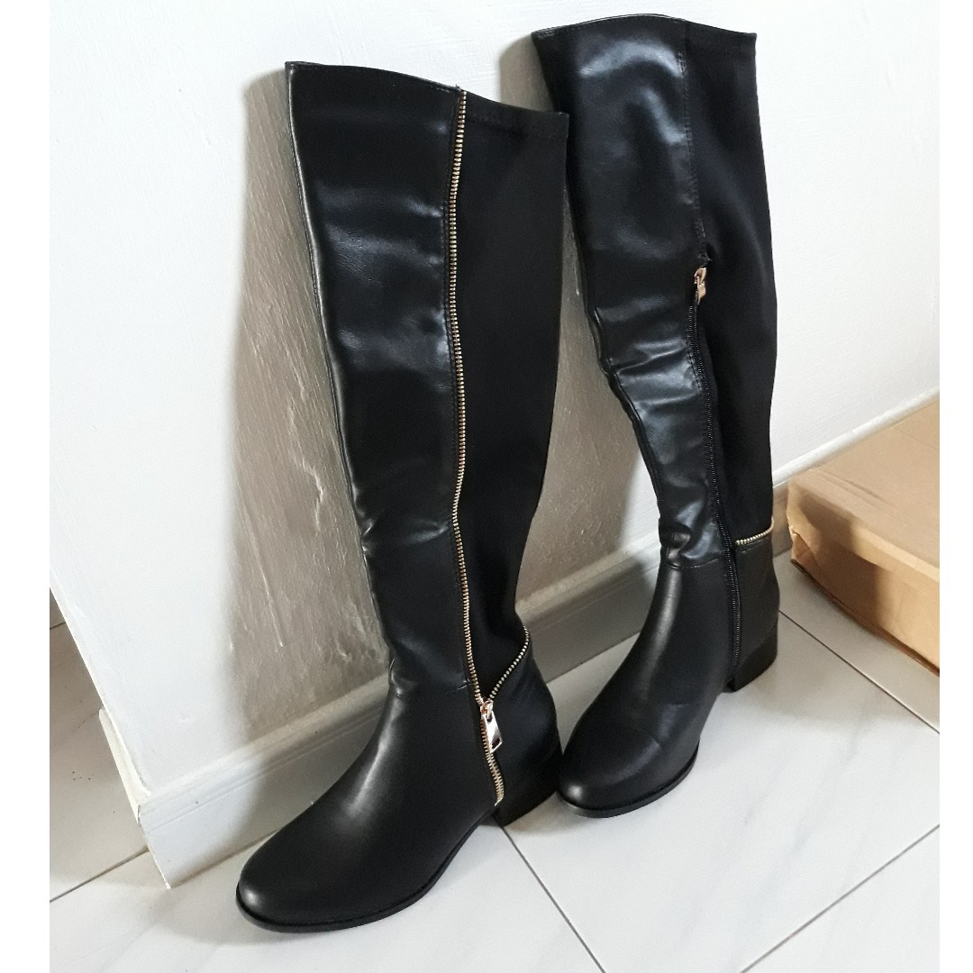 f33180707f0 Asos Truffle Collection Zip Detail Elastic Flat Over Knee Boots ...