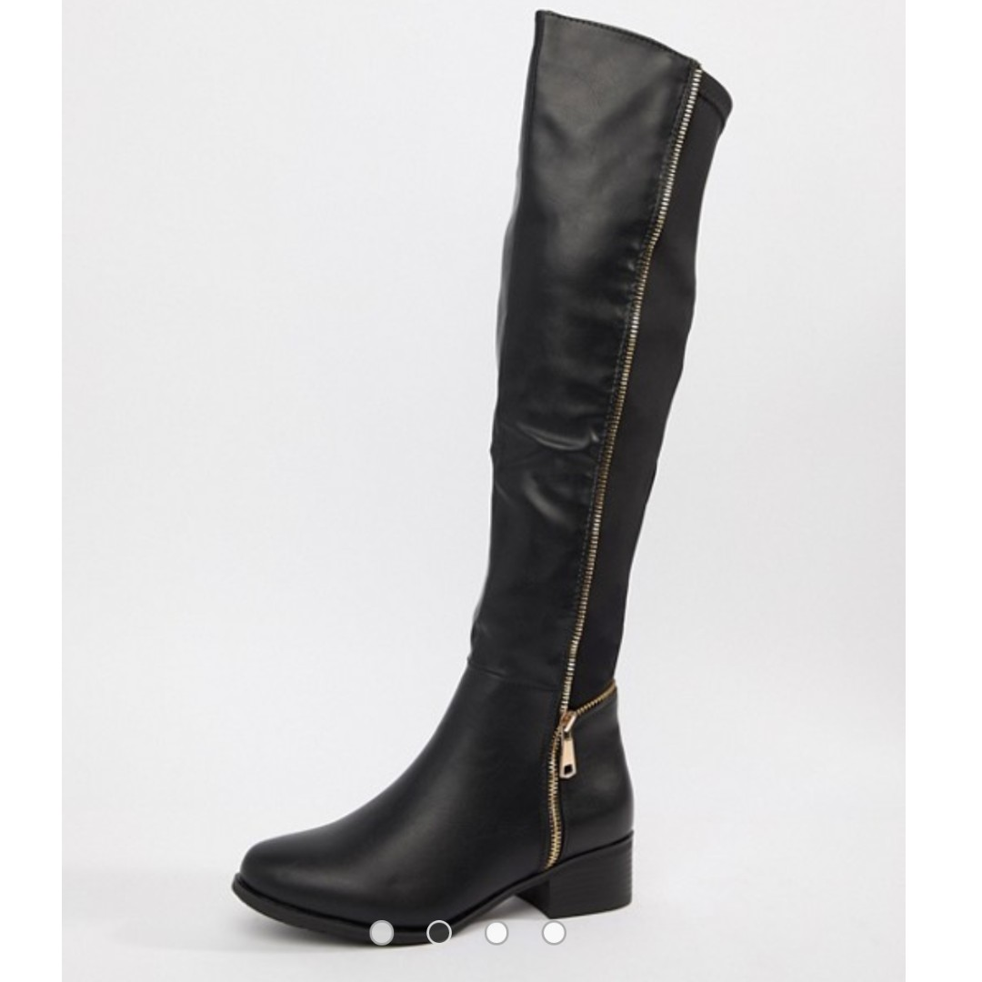 0d28e4350a0 Asos Truffle Collection Zip Detail Elastic Flat Over Knee Boots ...