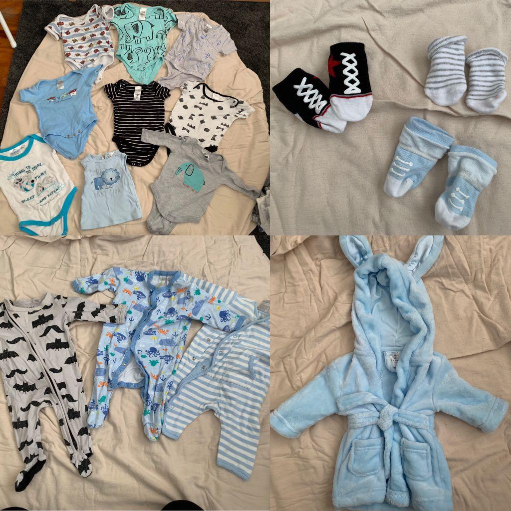 Baby 80+ pieces - baby boy clothing bundle size 000 (handful of 0000)