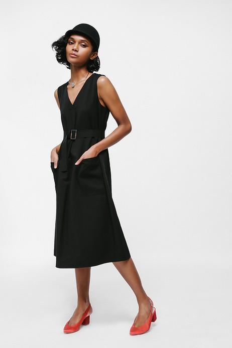 Love Bonito Salsha Belted Pocket Midi Dress  (black in size m)