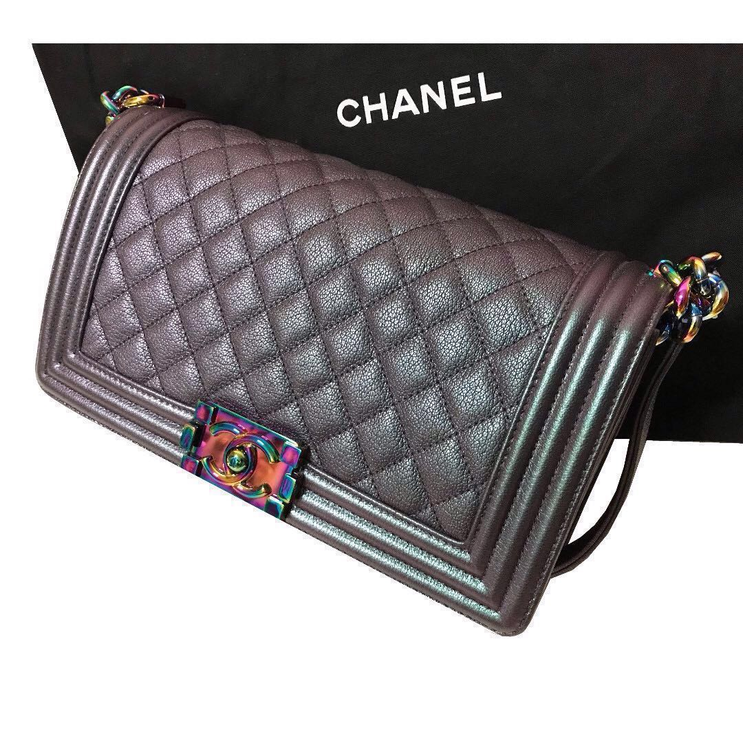 40726b8ce560 CHANEL Boy Bag Purple mermaid Iridescent Goatskin Quilted Flap Medium