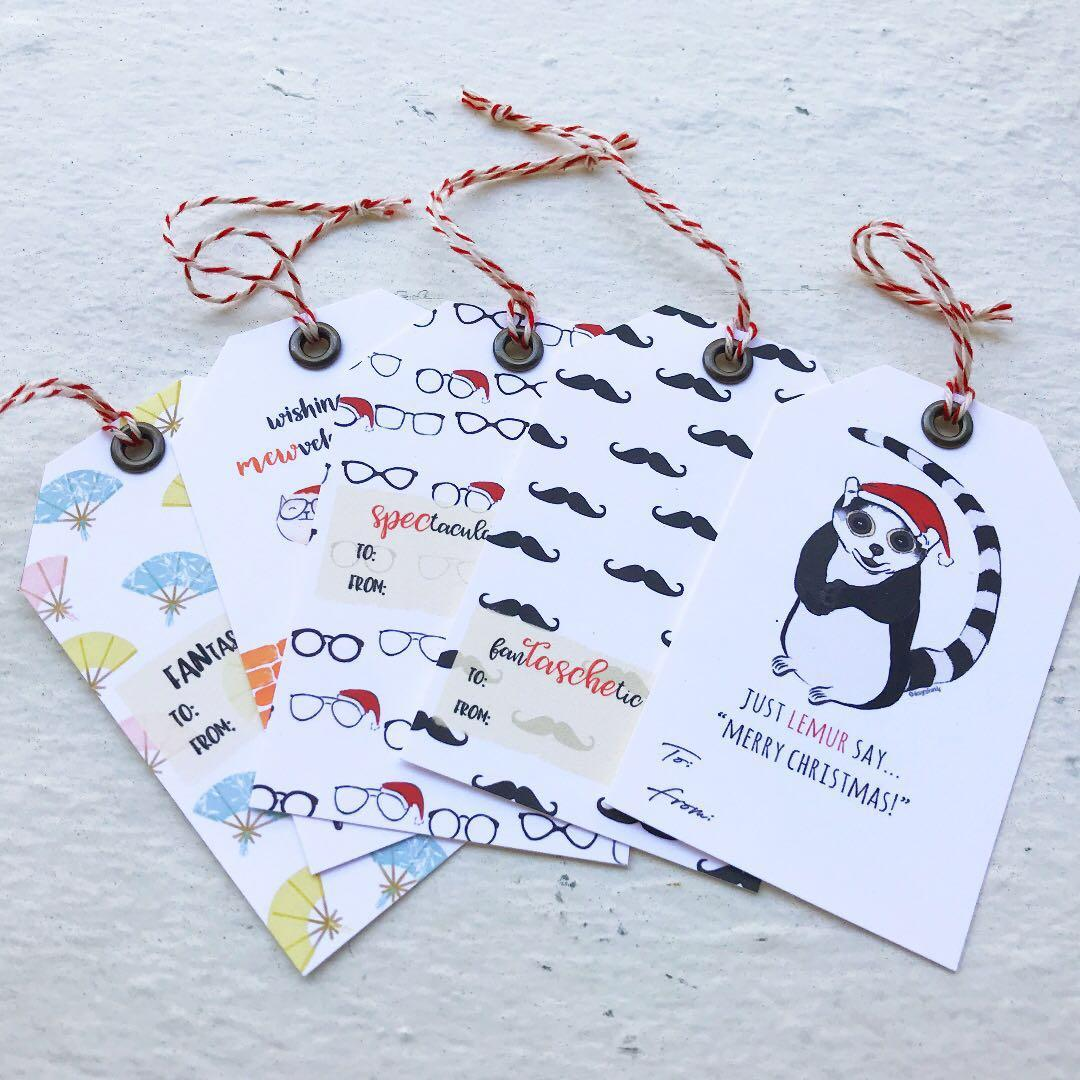 Christmas Gift Tags Handmade.Christmas Gift Tags Set Of 5 Tags Handmade Cute Funny